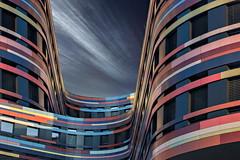 Colori urbani (Zz manipulation) Tags: art ambrosioni zzmanipulation city people citta sky palazzi strisce