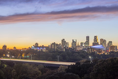 Fall Golden Hour in Minneapolis (Sam Wagner Photography) Tags: minneapolis minnesota midwest twin cities vibrant colorful sunset clouds interstate highway freeway expressway traffic transit downtown skyline cityscape city america usa travel autumn fall trees high angle