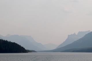 Hazy view in Upper Waterton Lake