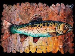 Vintage Rainbow  Trout Fresco (OLenaArt2013) Tags: vintage bluetrout frescoantique transparent painting broken mosaic fresco rare antique crackled lenaowens olenaart lenawalldecoration nativeandtribal ancientrockart spiritual petroglyph beautifulculture other anitique ancient rockart trout fish antiquepainting pond river water fisherman cutthroattrout fly fishing flyfishing bug rod colorfulfish coloradousa coloradoartist rainbow fishingfly animal color spots illustration angler sport lure nature natural stream licensing licensor