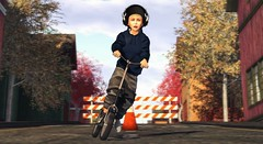 Keep your heart clear and transparent and you will never be bound. (Skippy Beresford) Tags: boy child children childhood kid scooter street play adventure music autumn heart light love friendship freedom