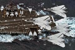 VF-32 F-14A Tomcats (skyhawkpc) Tags: usnavy naval aviation usn aircraft ussjohnfkennedy vf32swordsmen f14a tomcat ab204 ab205 ab202 ab200 inflight cva67 1981 cvw1 ab vaw126seahawks e2c hawkeye vs32maulers s3a viking hs11dragonslayers sh3d seaking grumman lockheed sikorsky officialusnavy