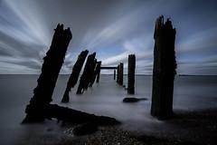 Black & blue (Explore 28/10/2017) (paullangton) Tags: sea beach coast longexposure blue black canon flelixstowe east lee filters 7dmk2 seascape water wide nature white wood pier
