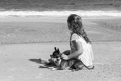 My grandaughter and our dog Gidget (norasphotos4u) Tags: beach ©noraleonard pets social people canon70200f4lisusm flickr canon6d