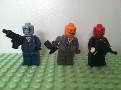 Trick Or Trio (Gallisuchus) Tags: custom lego dc batman villain minifigures terrible trio fox lantern pumpkin shark gillman fish vulture imp demon