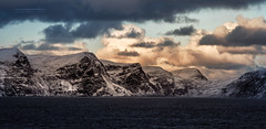 Sailing out of Hammerfest (Squareburn) Tags: hammerfest norway finnmark arctic mountains snow fjord seascape vivatar135mm