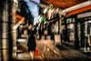 Conne, cette génération. (Fabrice Le Coq) Tags: rouge piéton flou personnes silouhète rue batiment ciel bleu vert lumière couleur bougé fabricelecoq