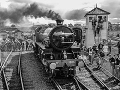 1306 'Mayflower', Barrow Hill (JH Stokes) Tags: 1306 mayflower barrowhill event monochrome steamlocomotives heritage trains trainspotting tracks transport railways locomotives ferroequinology b1 photography blackwhite lner chesterfiekd chesterfield staveley