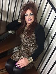 Animal (Sissy kaylah) Tags: redhead heavymakeup transvestite tranny crossdressing wolford blacktights animalprint dress deluxesatin bighair drag minidress purplenails tgurl tgirl tg trans