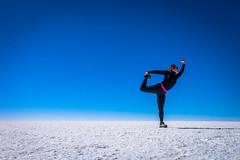 The salt flats were a perfect place to practice yoga.