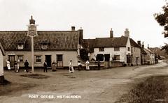 Wetherden, Suffolk (footstepsphotos) Tags: wetherden post office road village suffolk people old vintage postcard past