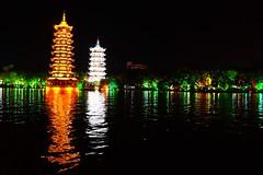 Sun-Moon Towers, Kweilin City (James Tung) Tags: kweilin guangxi sunmoontowers china 中國 桂林 廣西 日月塔 金銀塔 杉湖公園