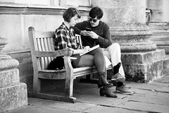 Day 288. Planning meeting. (Rob Emes) Tags: urban city street london greenwich notebook planning sitting bench pair couple bw black mono g7xii canon 3652017 365 oct2017