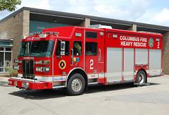 Columbus OH   Rescue 2 (kyfireenginephoto) Tags: columbus rescue svi truck squad downtown sutphen franklin ohio fire