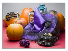 Halloween (johnhjic) Tags: johnhjic hasselblad x1d still life stilllife yorkshire northyorkshire lamp north witch pumpkin mask conical crown red halloween black blacklace witchwand wand pumpkins blue orange studio broncolor siros strobe silkrose silk rose food