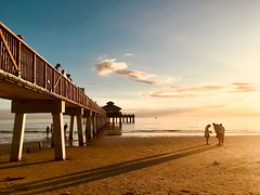 Long Shadows (Satsuma61) Tags: gulfofmexico beach fortmyerspier florida sunset