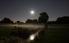 Moonlit Reflections [Explored] (Radical Retinoscopy) Tags: moonrise moon night nightsky nightphotography reflection reflections fog fogbank canont6s astronomy astrophotography lowlight longexposure lancaster landisrun stream