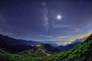 Moon against Milky way