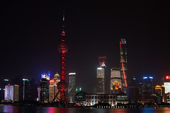 skyline (murtica27) Tags: china shanghai tower stand tripod oriental pudong bund nanjing road night long architecture architektur sony alpha pearl asien asia chinese beleuchtung angestrahlt lightshow