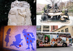 Go Ask Alice - Times Four NYC 2364 (Brechtbug) Tags: alice wonderland times four nyc with flamingo central park near 77th st upper left mushroom 75th right underground 50th 7th ave lower transit bus ad no longer 43rd 8th new york city fountain sculpture mosaic billboard movie poster combined 2017