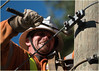 getting the job done (marneejill) Tags: linesman working intense hammer wires hydro pole hardhat safety helmet