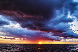 Fantastic stormy sunset on the Baltic sea