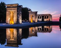 Madrid   |   Temple of Debod (JB_1984) Tags: templeofdebod templodedebod temple monument ancientegypt water reflection evening sunset dusk twilight colour parquedeloeste casadecampo moncloaaravaca madrid communityofmadrid comunidaddemadrid spain españa nikon d500 nikond500