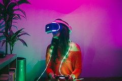 future awaits (19seconds) Tags: vr cyberpunk dystopia pink purple plants indoor portrait red girl dress psvr lights woman green playstation videogames night hue 50mm