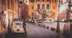 Still waiting (streets of Rome) (Flytipper) Tags: rome italy fiat fiat500 car street sun oldcity roma italia matte streetphoto