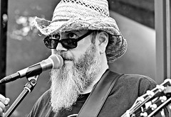 Lon Ray -- Killer Bee Honey Band -- Friday Night Live (forestforthetress) Tags: man face people bw blackandwhite monochrome outdoor omot nikon lonray killerbeehoney killerbeehoneyband fridaynightlive champaign street streetmusic guitar band concert gig festival stage