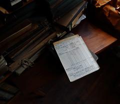 the attic 3/3 (michaelmueller410) Tags: denkmal struve struwe ordner museum desk folder script kladde bücher schreibtisch dachboden holz licht fenster schrift scripting handschrift handwriting stillleben stilleben