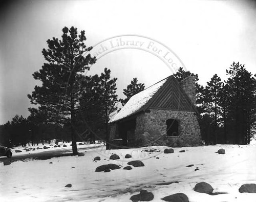 Photo - Flagstaff Shelter House in winter (1933).