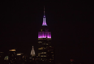 The Empire State Building is lit for the 2017 MLB postseason teams. Here it is in Rockies colors.