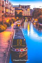 Birmingham Canal (atomikkingdom) Tags: water boats light birmingham blue narrowboat bright uk cloud happy canal sky ideas moored apartment pavement waterways