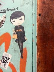 Rebel (aestheticsofcrisis) Tags: street art urban intervention streetart urbanart guerillaart graffiti postgraffiti new york ny nyc manhattan soho lowereastside phoebenewyork wheatpaste pasteup
