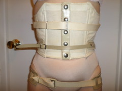 Front of Brace without Corset (KAFOmaker) Tags: brace braces braced bracing leather metal afo scoliosis back control strap straps strapped strapping orthopedic orthopedics girl cuff cuffs cuffed corset