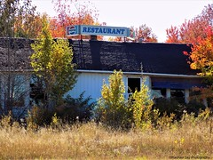 Closed Today (rachael242) Tags: abandoned forgotten old crusty rust rusty smashed empty left closed business restaurant fall autumn trees grass weeds pepsi 7up sign door window glass roof building beautiful food gone wreck wrecks ruin ruins