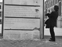 Shellshocked (Douguerreotype) Tags: monochrome buildings telephone historic street city bw tourism uk iphone ww2 gb england british blackandwhite mono candid architecture britain photographer london memorial people urban
