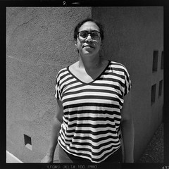 Corner Portrait (slightheadache) Tags: 120 analog contrast diy film ilford ilford100 mamiya6mf mamiya6 mediumformat nm newmexico portrait santafe square squareformat stripes 6x6