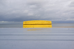 a little yellow in the grey day (ignacy50.pl) Tags: minimal minimalart yellow grey clouds seacoast baltic poland sopot cloudyday composition sonyrx1 ignacy50 outdoor