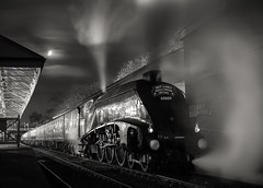 """""""A Ghostly Number 9"""" A4 60009 'Union Of South Africa' (Liam60009) Tags: eastlancashirerailway elr halloweenspecial halloween halloweenspecials ghosttrain steam steamlocomotive steaming steamtrain buryboltonstreetstation bury a4 60009 unionofsouthafrica gresley streamlined streak moon moonlight moonlit eery blackandwhite monochrome"""