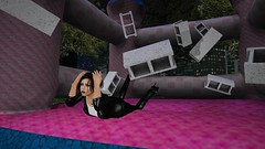 Cinderblocks on a bouncy castle (alexandriabrangwin) Tags: alexandriabrangwin secondlife 3d cgi computer graphics virtual world photography cinder blocks bouncing childrens bouncy castle screaming afraid pummeled hurt laying down floor scared shielding head shiny glossy black leather jacket pants night city urban scene funny silly woman