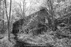 Forsaken (James Etchells) Tags: old fussells iron works mells frome somerset ir infrared landscape landscapes south west uk britain england woods trees building nature natural world forsaken abandoned decay urban black white light dark architecture structure heritage history historic photography ancient photograph image tree wood artistic industrial industry past contrast forest monochrome