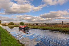 DSC_0020 - Straight Mile (SWJuk) Tags: swjuk uk unitedkingdom gb britain england lancashire burnley home canal leedsliverpoolcanal towpath water ripples reflections narrowboat barge sailing clouds bluesky red 2017 oct2017 autumn autumnal autumncolours nikon d7100 nikond7100 wideangle tokina1116 rawnef lightroomclassiccc