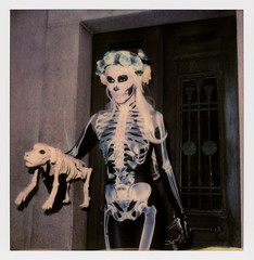 Muertos Maiden & Dog (tobysx70) Tags: polaroid originals color 600 instant film slr680 frankenroid sx70 door rollers maiden dog dia de los muertos celebration hollywood forever cemetery santa monica blvd boulevard angeles la california ca woman lady portrait skull makeup skeleton costume route rte rt 66 toby hancock photography