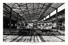 Abandoned between light and shadow (Marcos Jerlich) Tags: transport train locomotive abandoned garage sunlight light shadow shadows october flickr 7dwf monochromemonday hmm bw blackandwhite bnw monochrome blancoynegro mono brasil jundiaí américadosul canon canont5i canon700d efs1855mm marcosjerlich