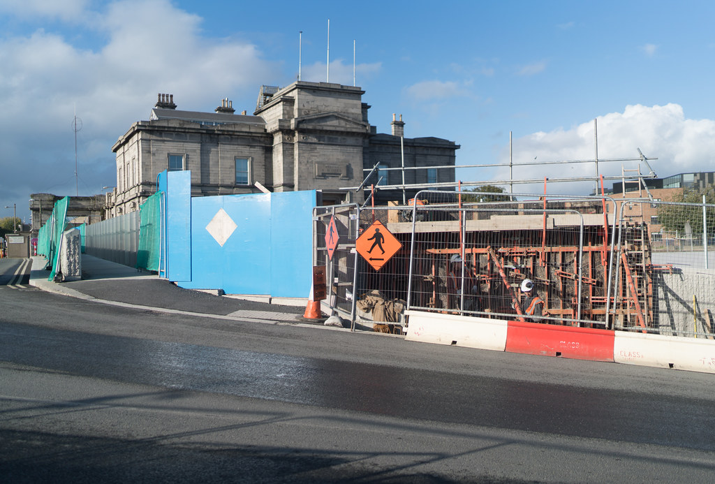 CONSTRUCTION STILL UNDERWAY AT THE BROADSTONE TRAM STOP [THE SCENE IS SOMEWHAT COMPLICATED]-133002