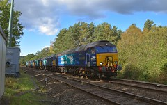 DRS Convoy, from Crewe Gresty Bridge to Norwich, with 57303 leading 57306, 37716, 37059 and 37069 as tail end charlie. Santon Downham. 05 10 2017 (pnb511) Tags: eastanglia norfolk thetfordbranch brecklands thetford forest class57 class37 trains drs directrailservices track train loco locomotive diesel sky clouds trees