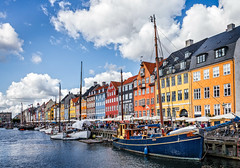 Nyhavn in Copenhagen Denmark (mary_hulett) Tags: shipyard historicalarchitecture canal colorful 2017 ships travel harbor water denmark trip boat boats europe buildings nyhavn