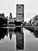 Liverpool, Mann Island. (Gel Gillbanks) Tags: liverpool mannisland reflections water bw albert dock liverbuilding monochrome